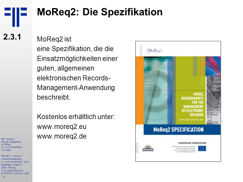 MoReq2: Die Spezifikation