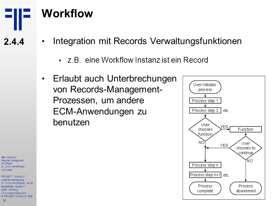 Workflow 2.4.4 Integration mit Records Verwaltungsfunktionen