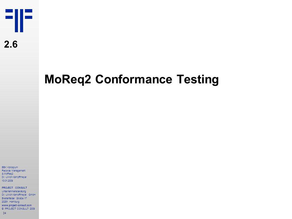 MoReq2 Conformance Testing
