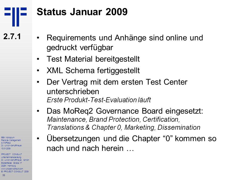 Status Januar 2009 2.7.1. Requirements und Anhänge sind online und gedruckt verfügbar. Test Material bereitgestellt.