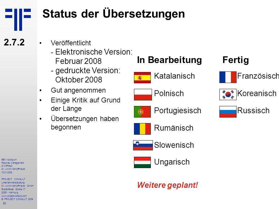 Status der Übersetzungen