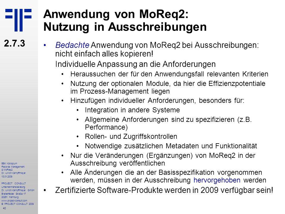 Anwendung von MoReq2: Nutzung in Ausschreibungen