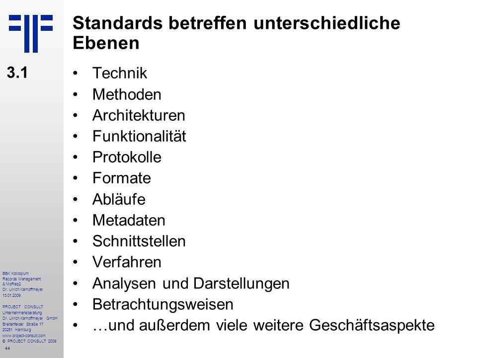 Standards betreffen unterschiedliche Ebenen