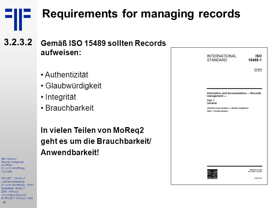 Requirements for managing records