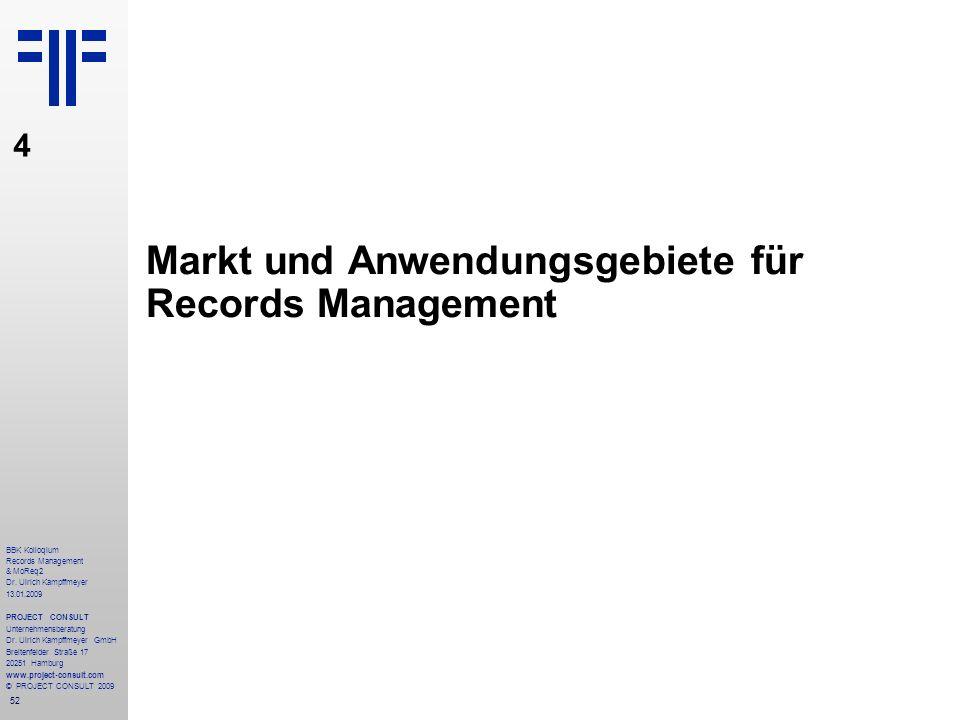 Markt und Anwendungsgebiete für Records Management