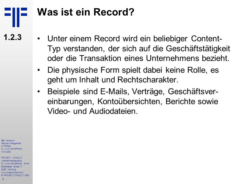 Was ist ein Record 1.2.3.