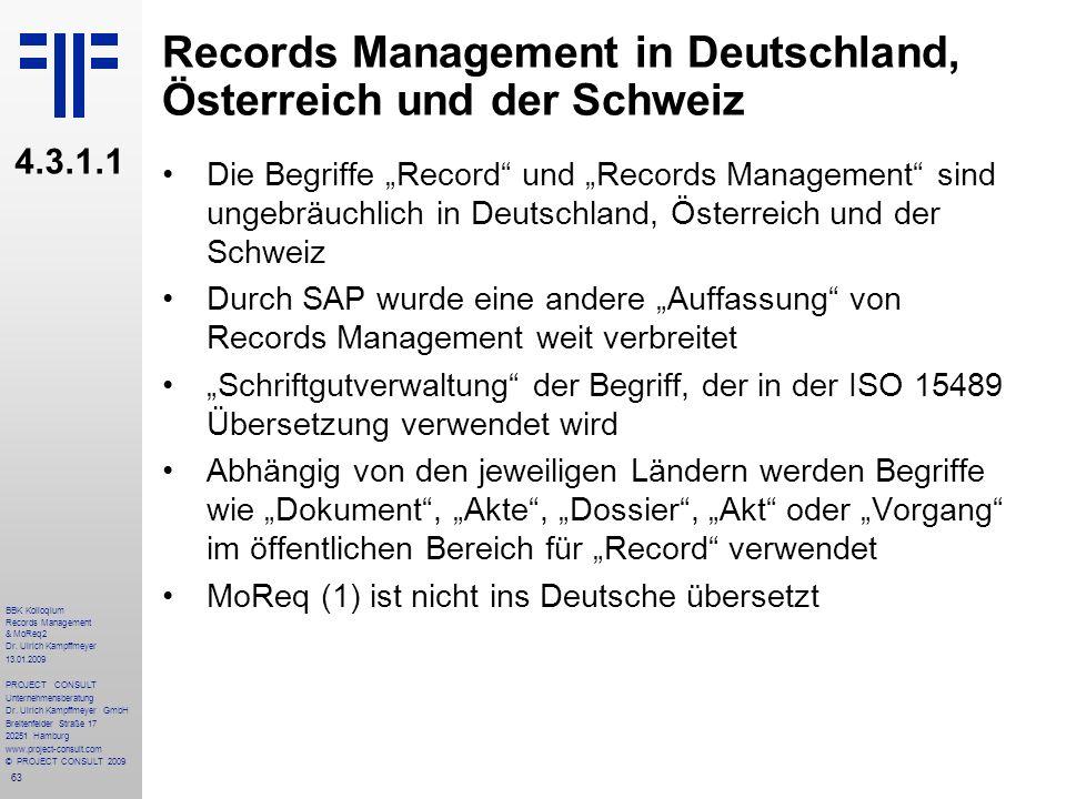 Records Management in Deutschland, Österreich und der Schweiz