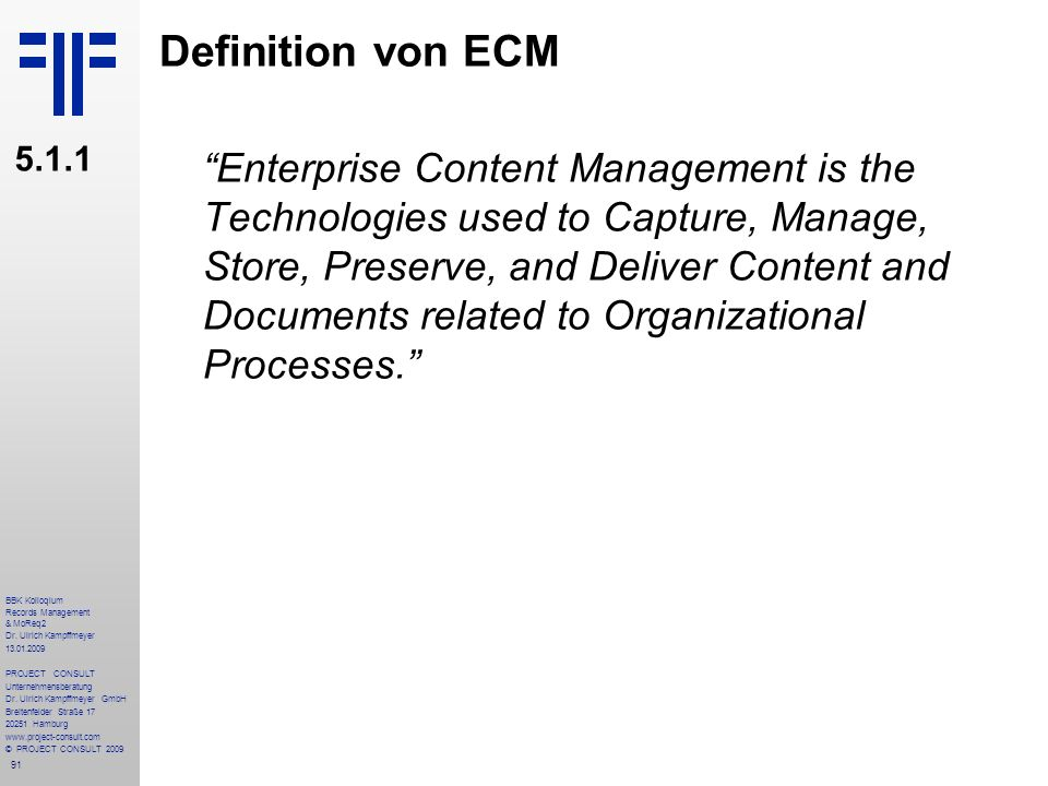 Definition von ECM 5.1.1.
