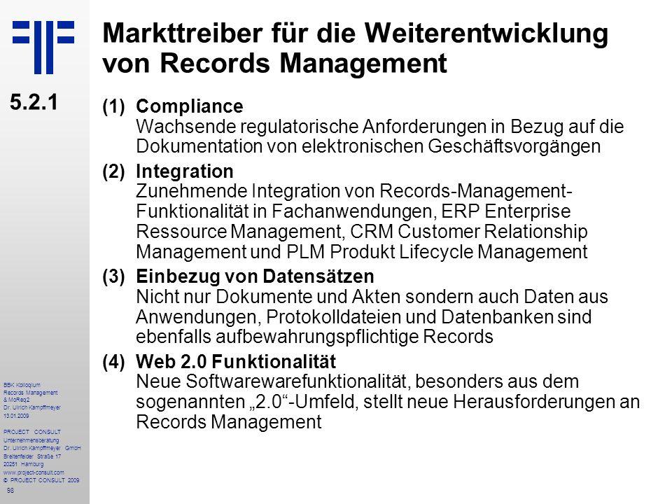 Markttreiber für die Weiterentwicklung von Records Management