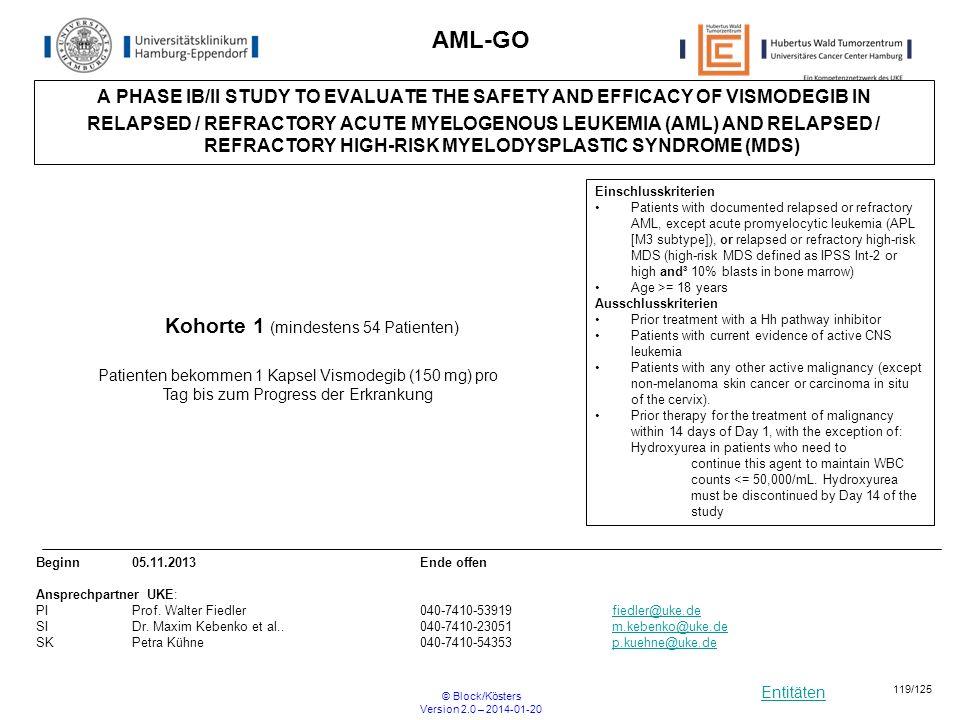 AML-GO Kohorte 1 (mindestens 54 Patienten)