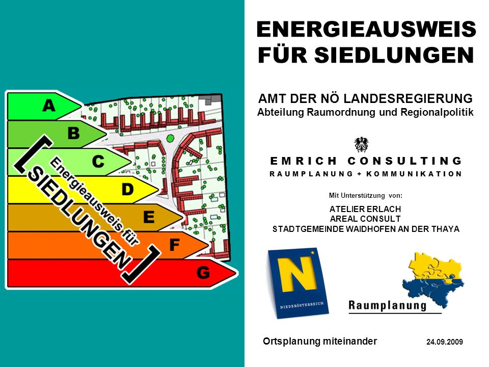 ENERGIEAUSWEIS FÜR SIEDLUNGEN