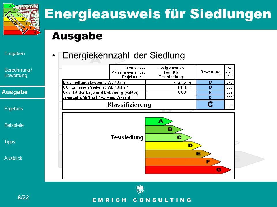 Ausgabe Energiekennzahl der Siedlung Ausgabe