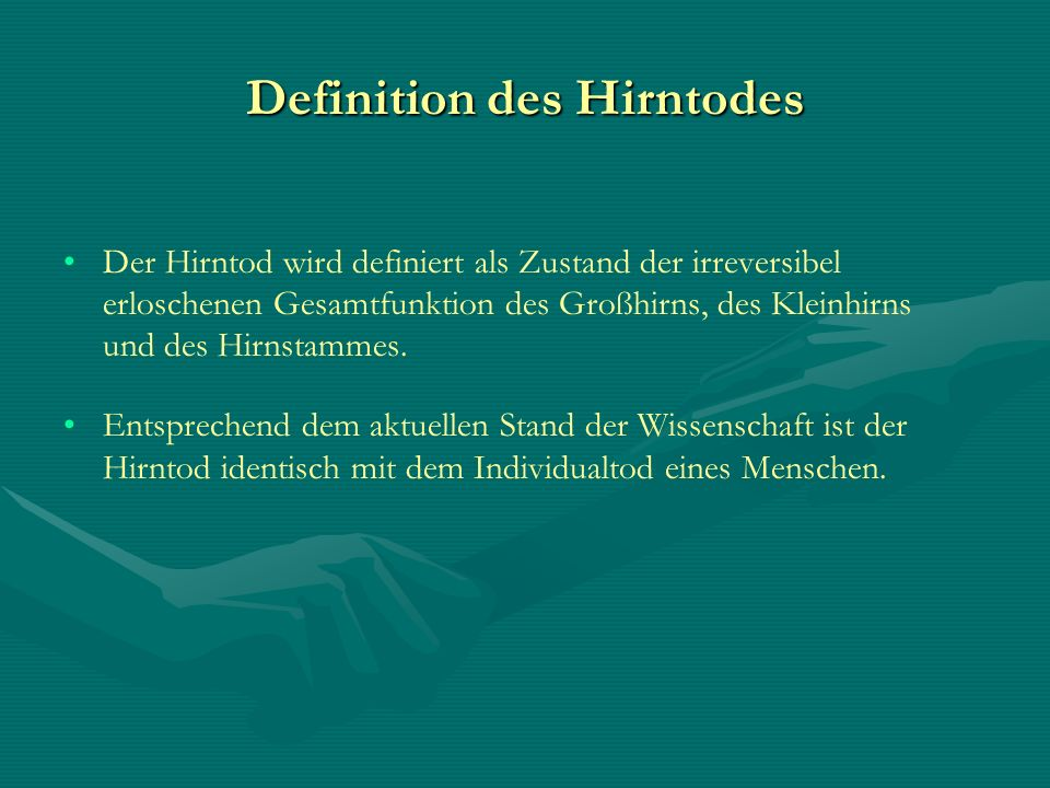 Definition des Hirntodes