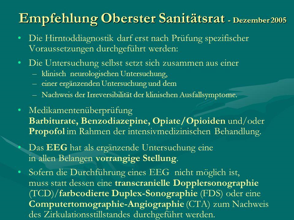 Empfehlung Oberster Sanitätsrat - Dezember 2005