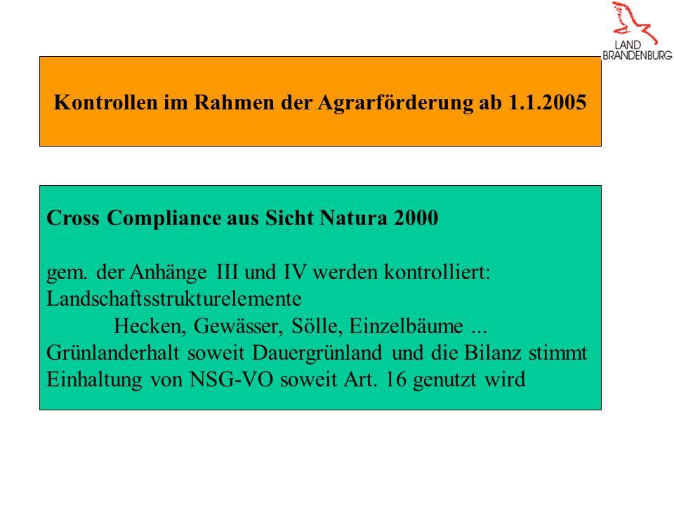 Kontrollen im Rahmen der Agrarförderung ab 1.1.2005
