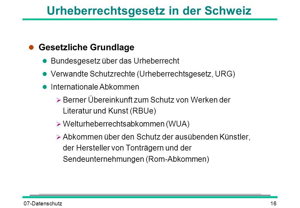 Urheberrechtsgesetz in der Schweiz
