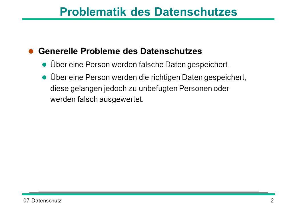 Problematik des Datenschutzes