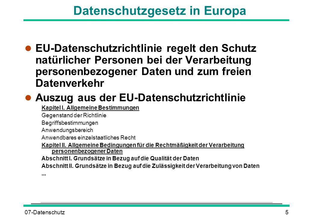 Datenschutzgesetz in Europa