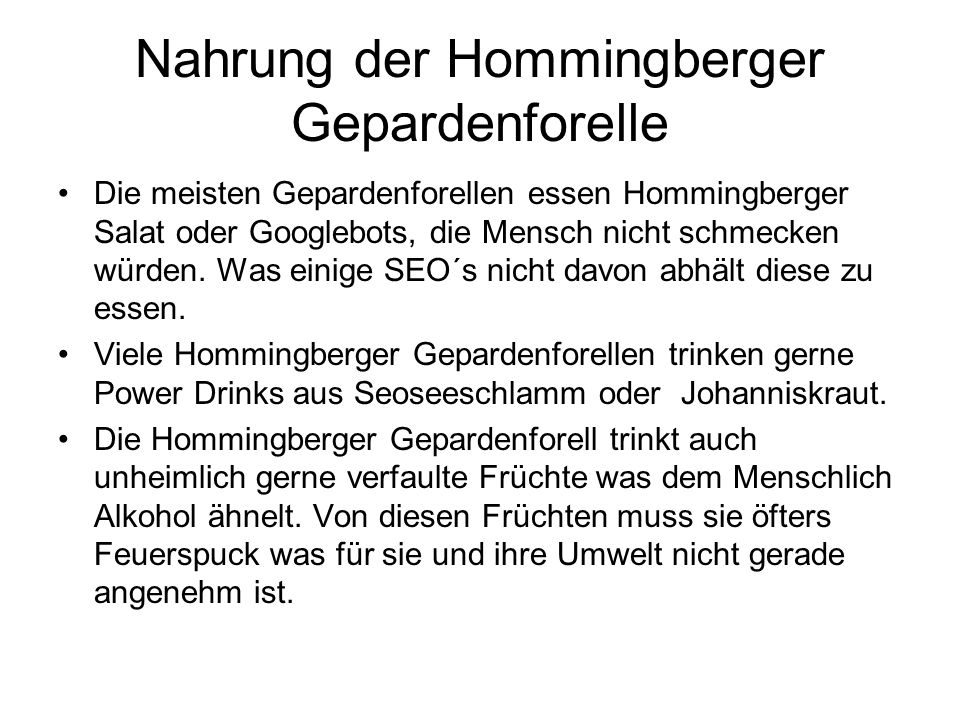 Nahrung der Hommingberger Gepardenforelle