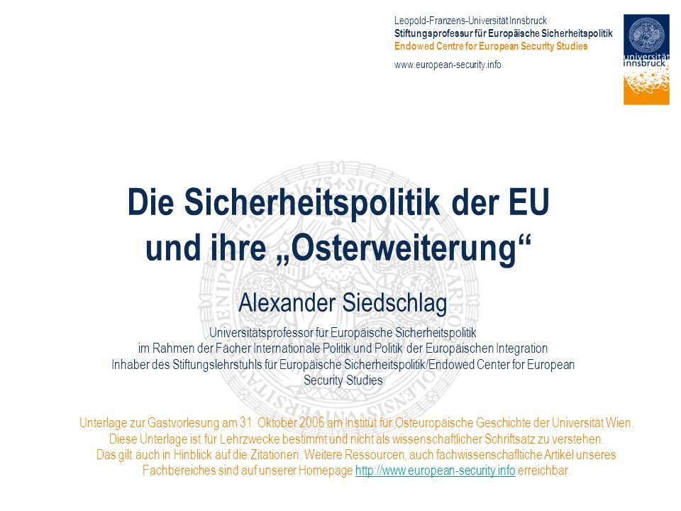 """Die Sicherheitspolitik der EU und ihre """"Osterweiterung"""