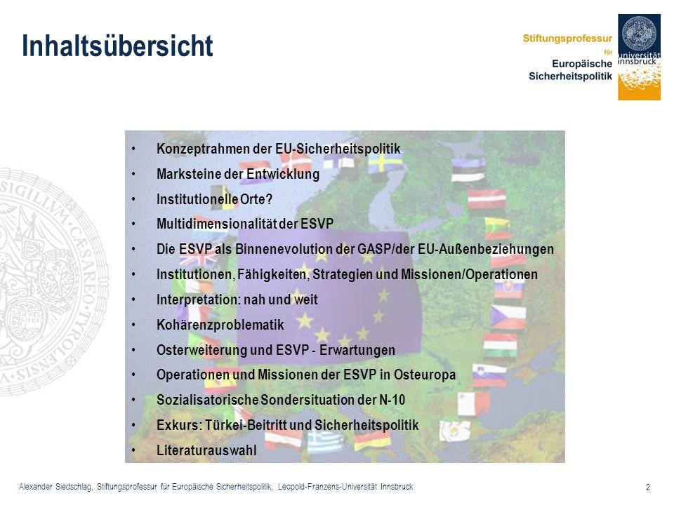 Inhaltsübersicht Konzeptrahmen der EU-Sicherheitspolitik