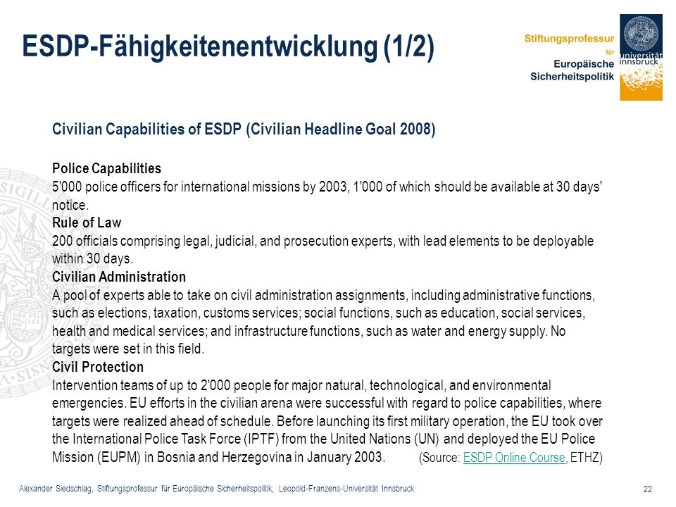 ESDP-Fähigkeitenentwicklung (1/2)