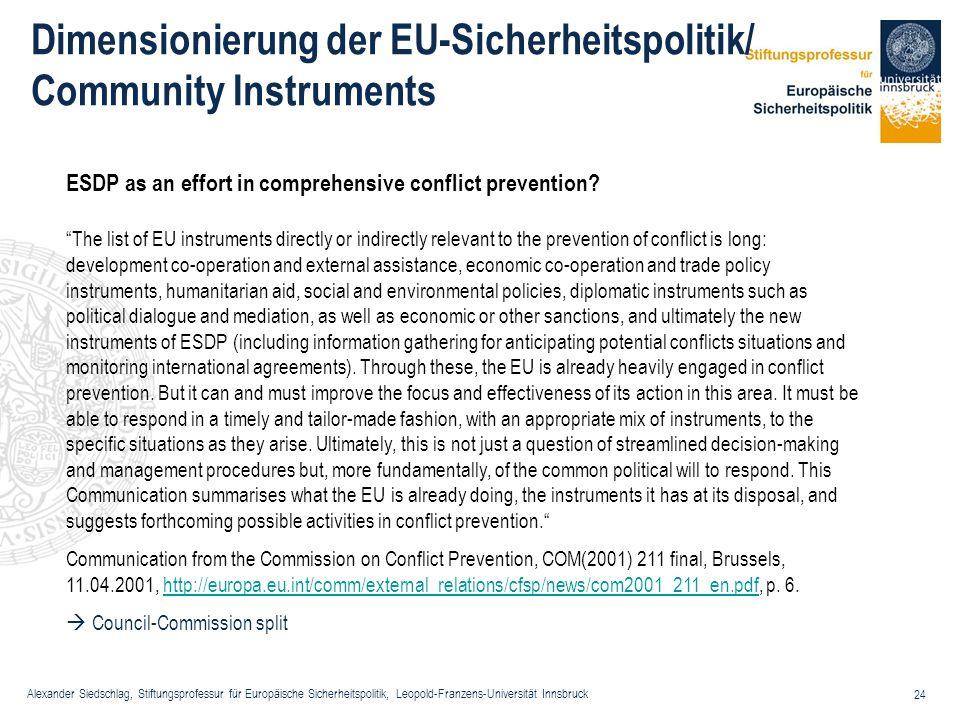 Dimensionierung der EU-Sicherheitspolitik/ Community Instruments