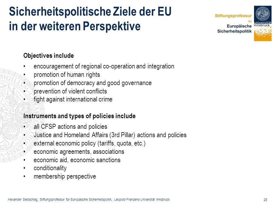 Sicherheitspolitische Ziele der EU in der weiteren Perspektive