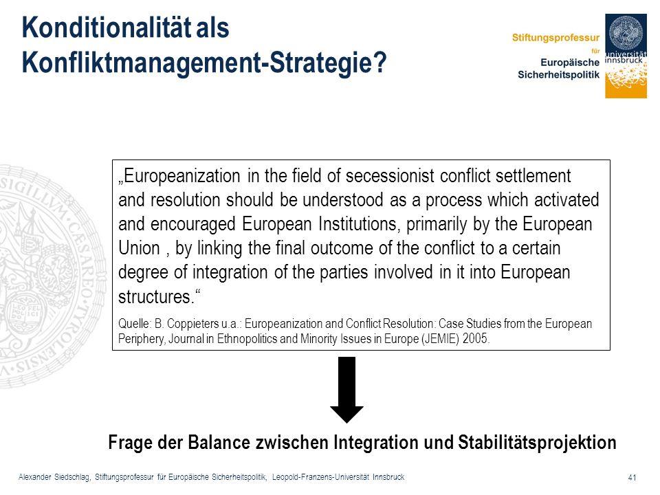 Konditionalität als Konfliktmanagement-Strategie