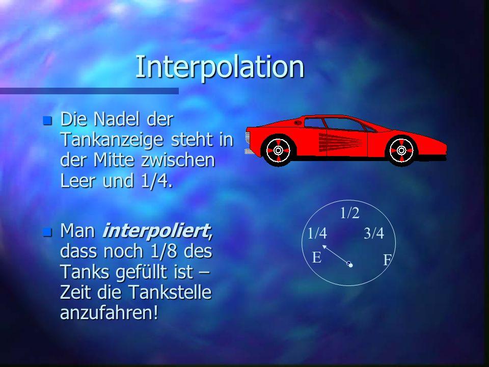 Interpolation Die Nadel der Tankanzeige steht in der Mitte zwischen Leer und 1/4.