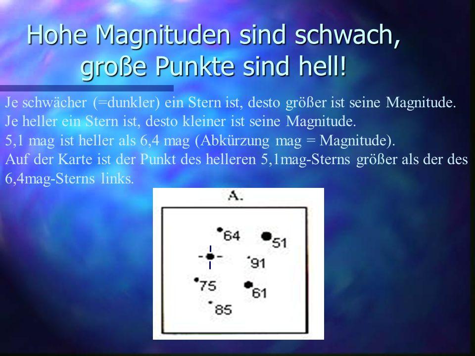 Hohe Magnituden sind schwach, große Punkte sind hell!