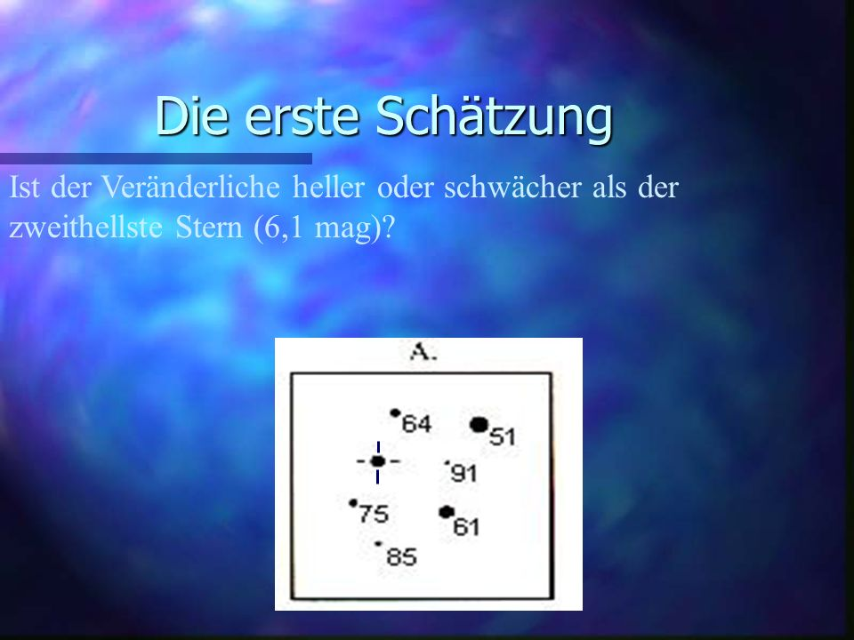 Die erste Schätzung Ist der Veränderliche heller oder schwächer als der zweithellste Stern (6,1 mag)