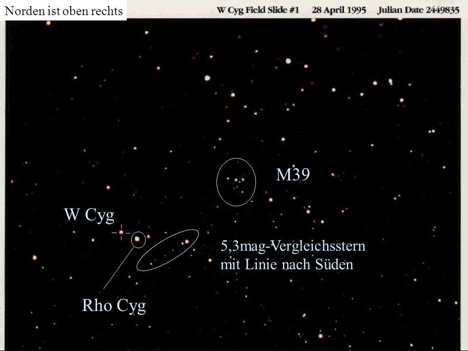 M39 W Cyg Rho Cyg 5,3mag-Vergleichsstern mit Linie nach Süden
