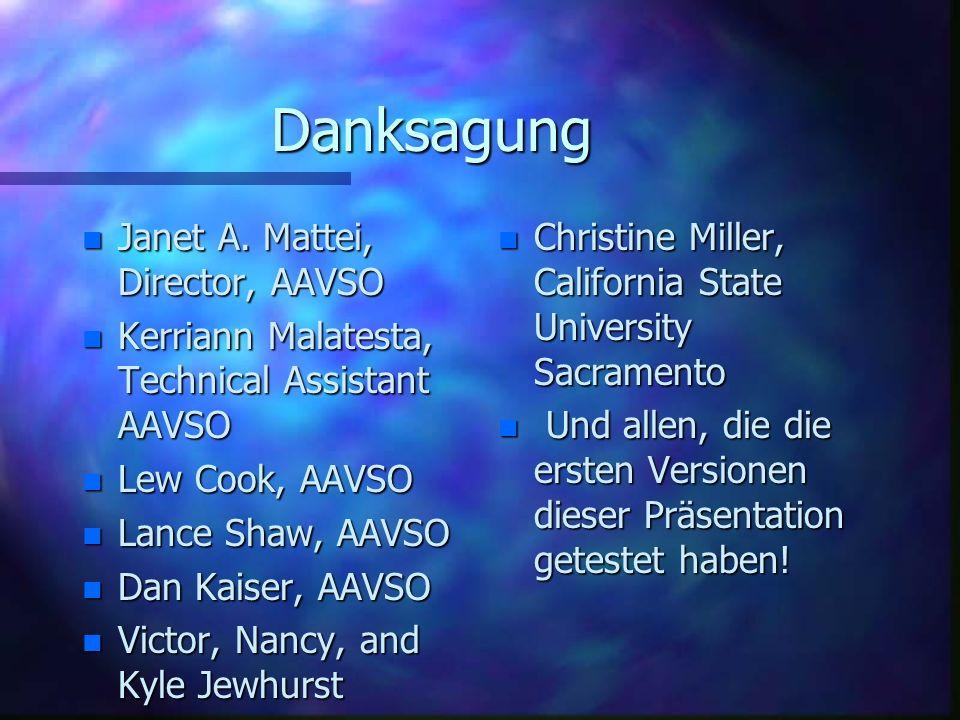 Danksagung Janet A. Mattei, Director, AAVSO