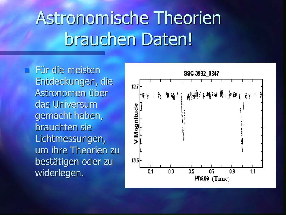 Astronomische Theorien brauchen Daten!