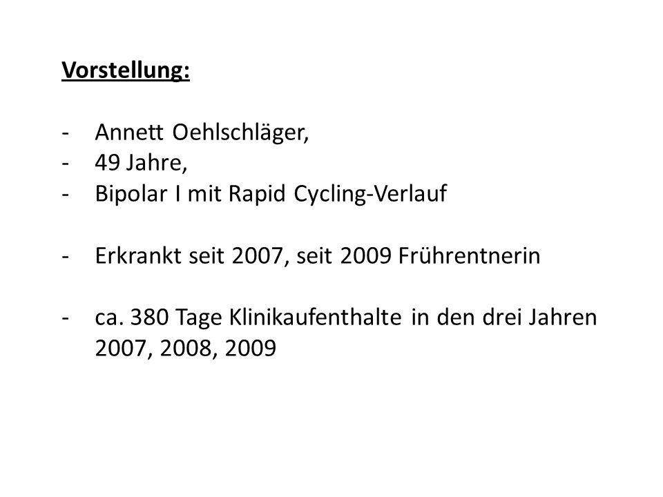 Vorstellung: Annett Oehlschläger, 49 Jahre, Bipolar I mit Rapid Cycling-Verlauf. Erkrankt seit 2007, seit 2009 Frührentnerin.