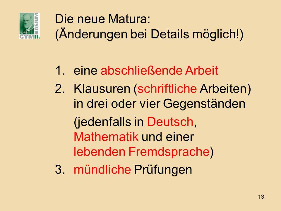 Die neue Matura: (Änderungen bei Details möglich!)