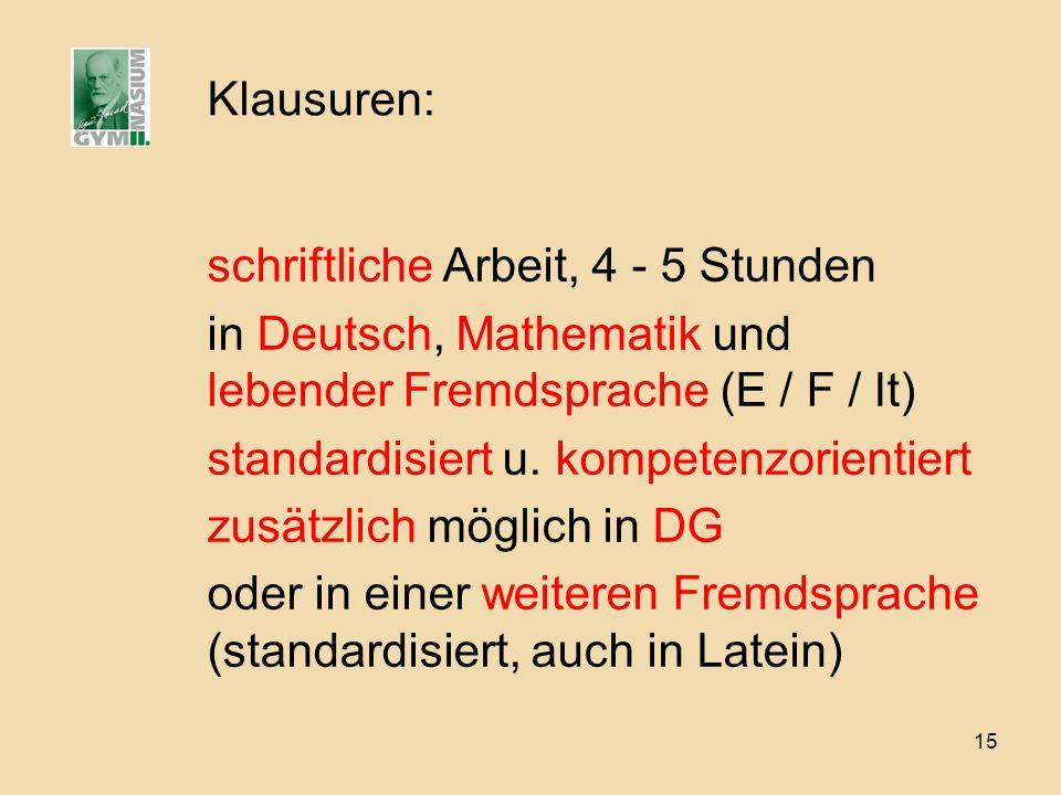 Klausuren: schriftliche Arbeit, 4 - 5 Stunden. in Deutsch, Mathematik und lebender Fremdsprache (E / F / It)
