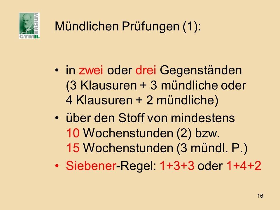 Mündlichen Prüfungen (1):
