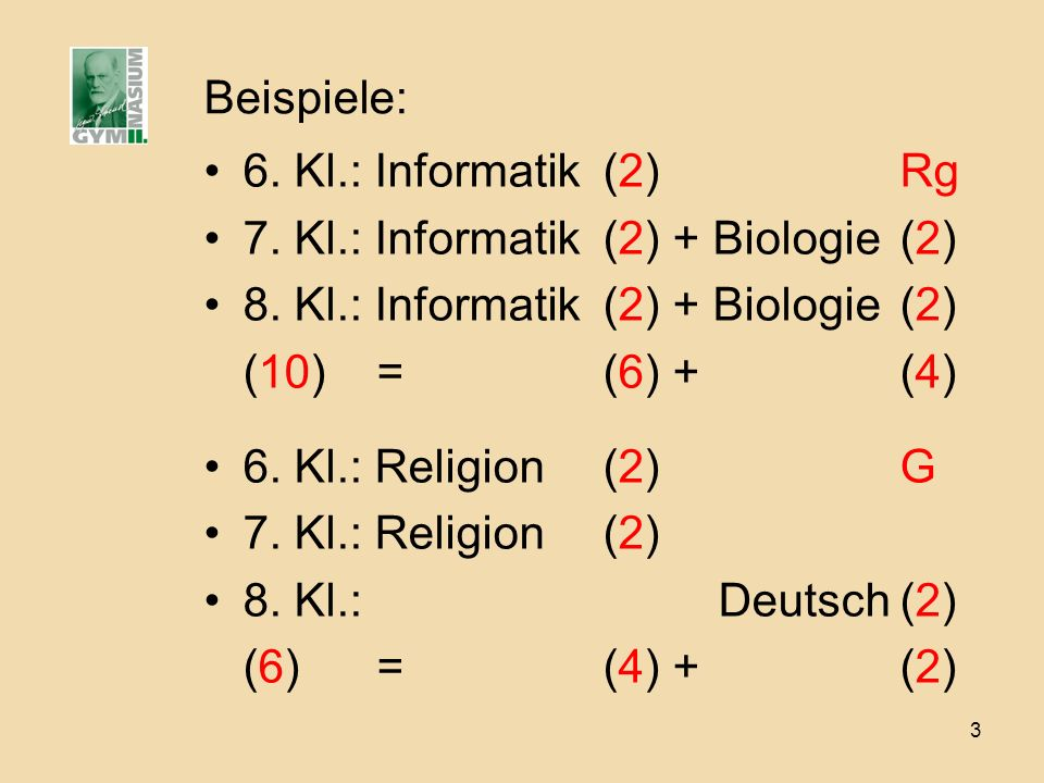 Beispiele: 6. Kl.: Informatik (2) Rg. 7. Kl.: Informatik (2) + Biologie (2) 8. Kl.: Informatik (2) + Biologie (2)