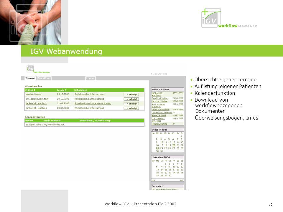 IGV Web-Frontend IGV Webanwendung Übersicht eigener Termine