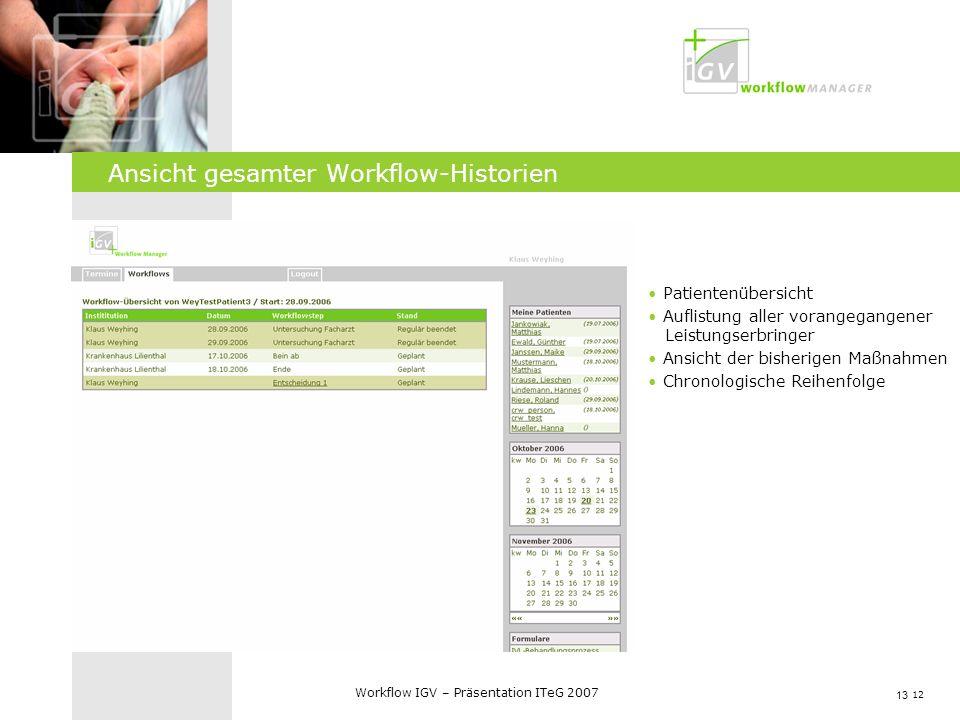 Ansicht gesamter Workflow-Historien