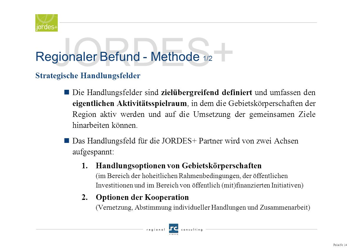 JORDES+ Regionaler Befund - Methode 1/2 Strategische Handlungsfelder