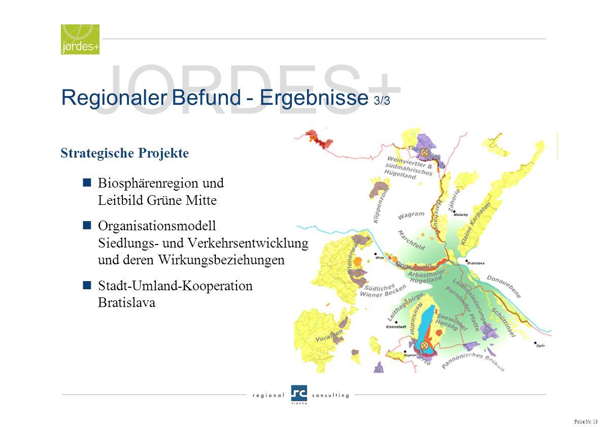 JORDES+ Regionaler Befund - Ergebnisse 3/3 Strategische Projekte