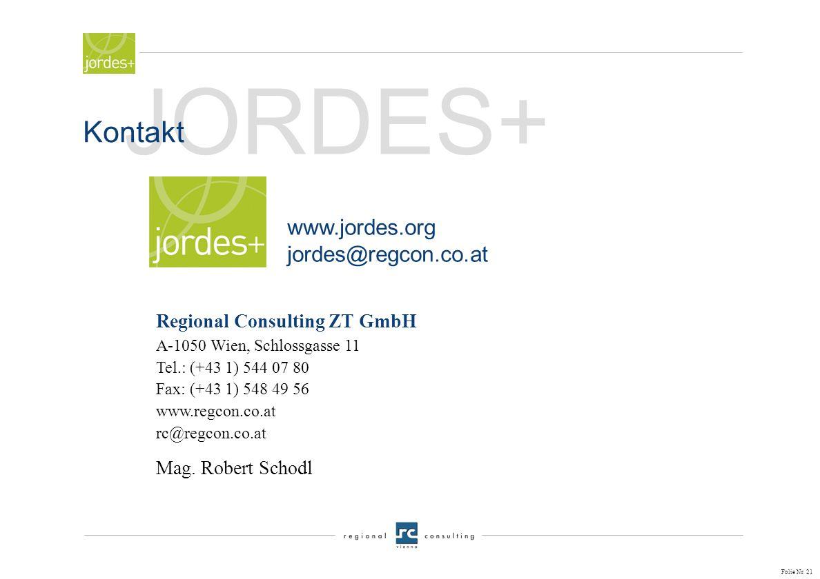 JORDES+ Kontakt www.jordes.org jordes@regcon.co.at