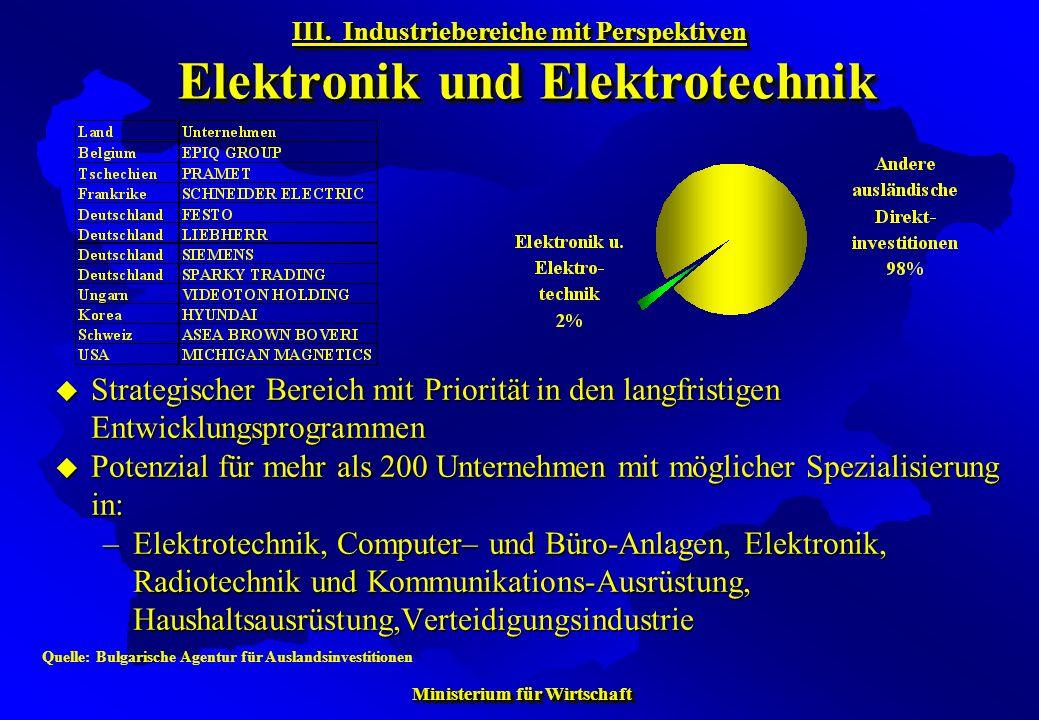 III. Industriebereiche mit Perspektiven Elektronik und Elektrotechnik