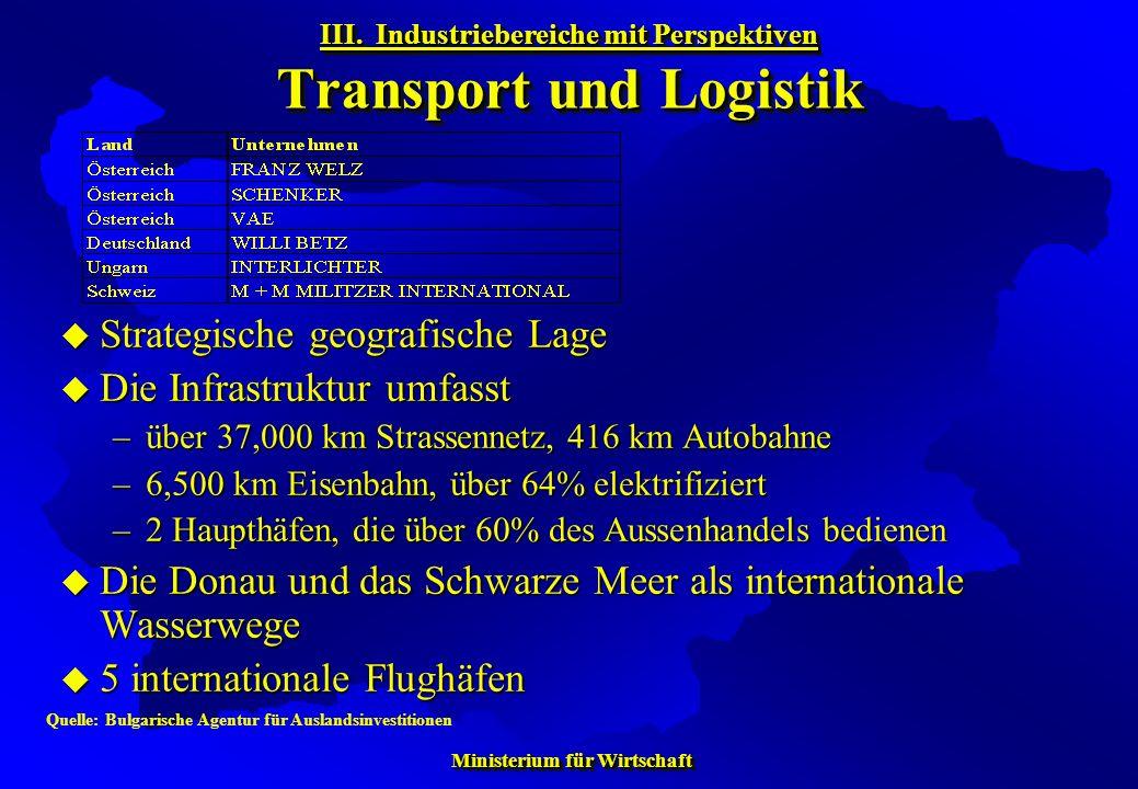 III. Industriebereiche mit Perspektiven Transport und Logistik