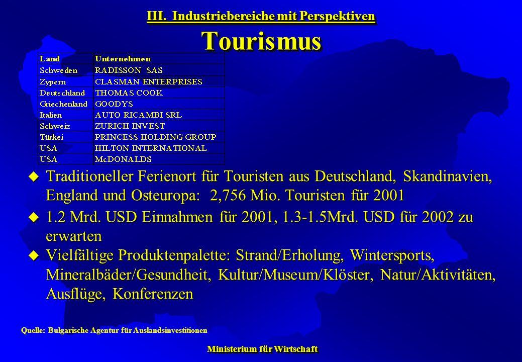 III. Industriebereiche mit Perspektiven Tourismus