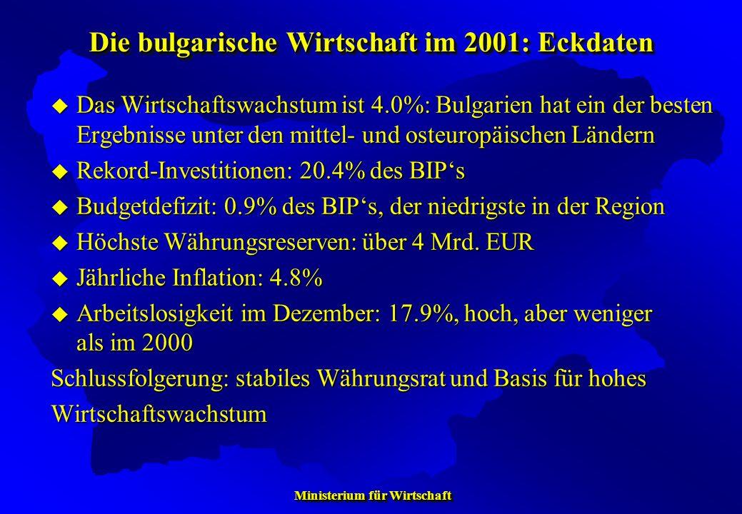 Die bulgarische Wirtschaft im 2001: Eckdaten