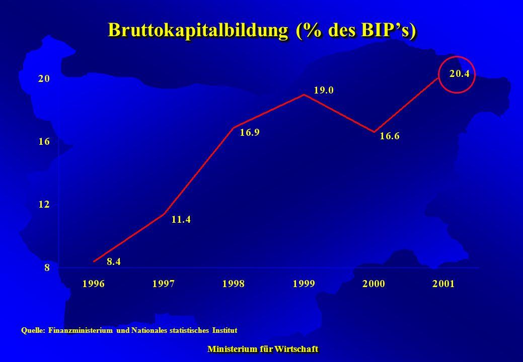 Bruttokapitalbildung (% des BIP's)